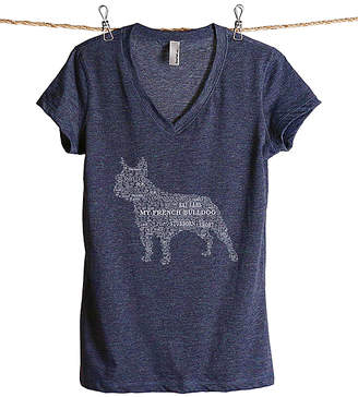 Thread Tank Women's Tee Shirts Heather - Heather Navy 'My French Bulldog' Word Cloud V-Neck Tee - Women