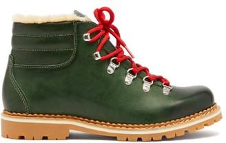 Montelliana Marlena Leather And Shearling Hiking Boots - Womens - Dark Green