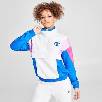Champion Women's Mixed Media Quarter-Zip Windbreaker Jacket