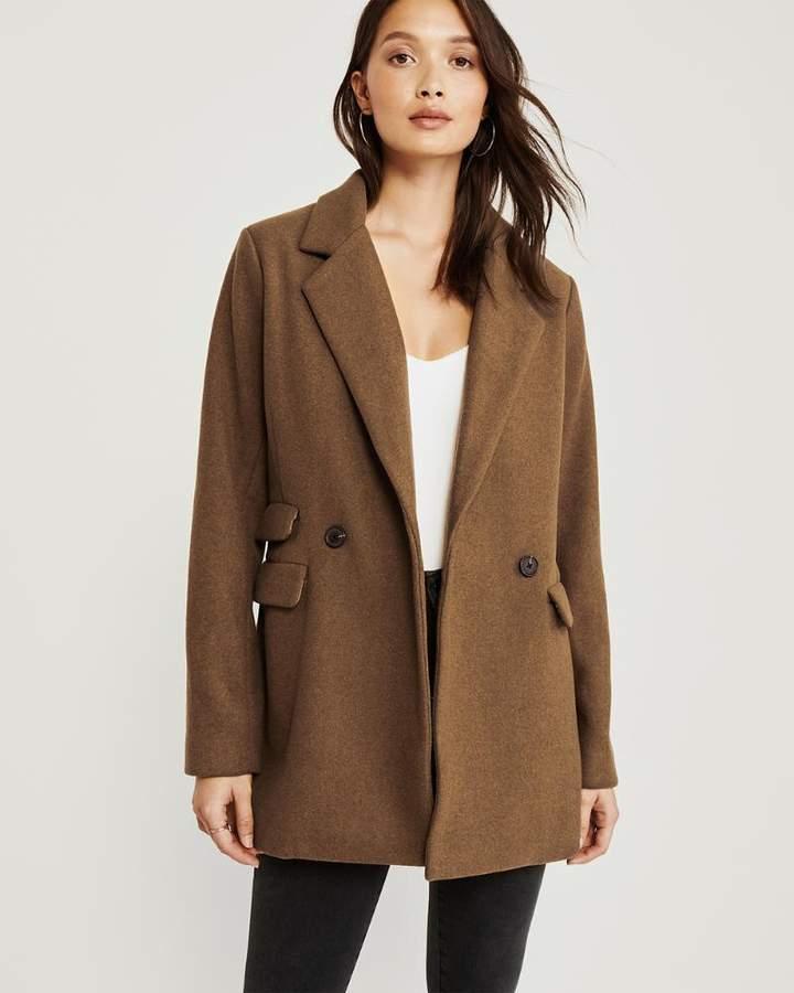 Wool-Blend Blazer Coat