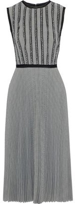 Jason Wu Lace-trimmed Pleated Prince Of Wales Checked Jacquard Midi Dress