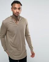 Asos Longline Long Sleeve T-Shirt With Grandad Collar And Curved Hem
