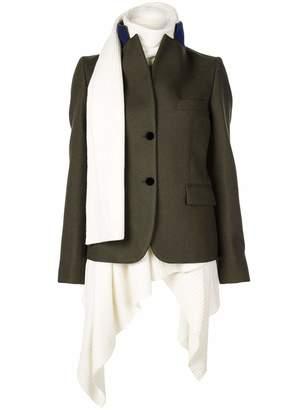 Sacai Melton X Knit Asymmetrical Sweater Blazer