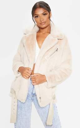 PrettyLittleThing Stone Faux Fur Aviator Jacket