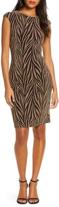 Vince Camuto Metallic Animal Stripe Sheath Dress