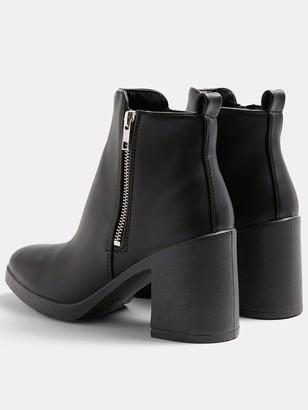 Topshop Bridie Zip Side Unit Boots - Black