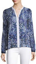 Elie Tahari Layne Abstract-Print Silk Blouse