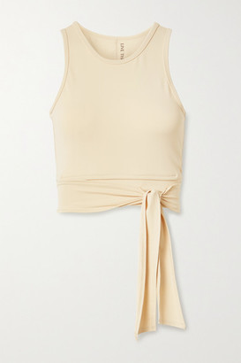 Live The Process Ballet Cropped Wrap-effect Stretch-supplex Top - Sand