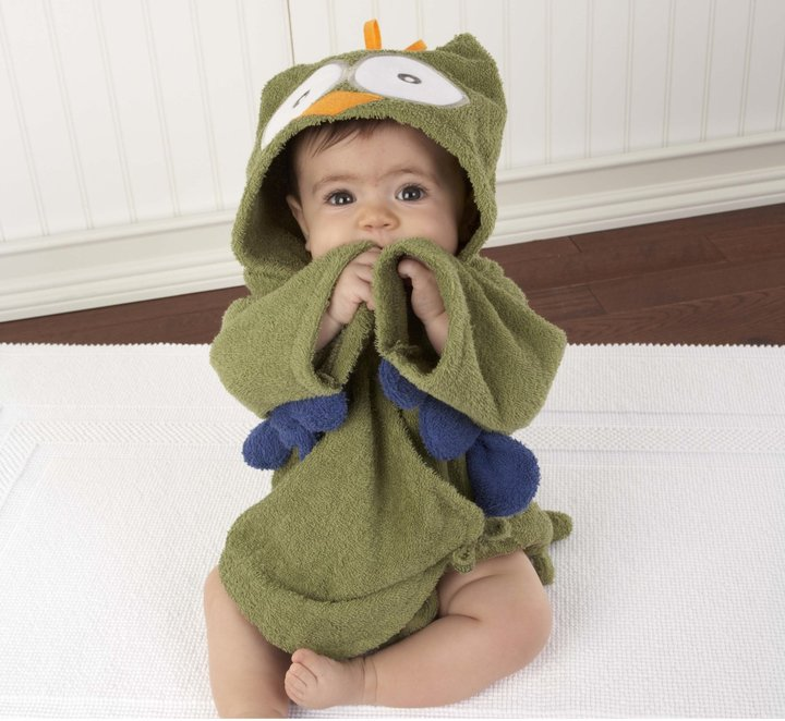 Baby Aspen Hooded Towel/Robe - My Little Night Owl - Green - 0-9 Months