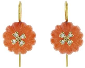 Cathy Waterman Carnelian Flower Bead Wildflower Overlay Earrings