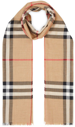 Burberry Wool And Blend Silk Checked Scarf