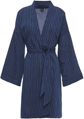 ELSE Robie Belted Striped Cotton Robe