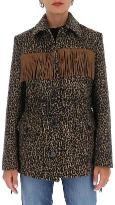 Saint Laurent Fringed Leopard Print Jacket