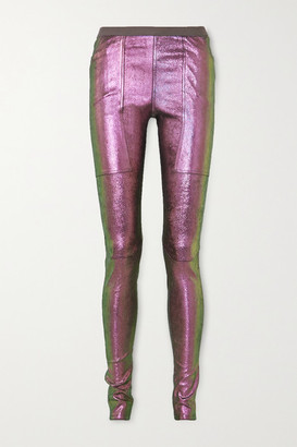 Rick Owens Iridescent Stretch Leather And Cotton-blend Leggings - Metallic