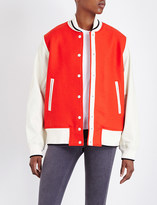 Rag & Bone Edith leather and wool varsity bomber jacket