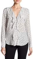 Veronica Beard Hart Silk Ruffle Button Down Blouse