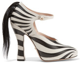 Gucci Goat Hair-trimmed Leather Pumps - Zebra print
