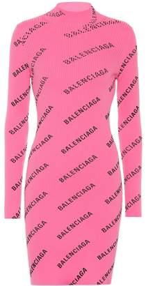 Balenciaga Allover Logo ribbed-knit minidress