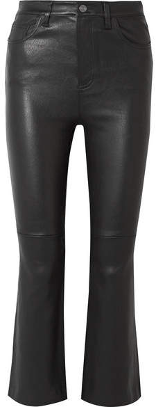 Current/Elliott The Kick Cropped Leather Flared Pants - Black