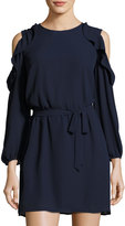 Collective Concepts Cold-Shoulder Ruffle-Trim Dress, Navy
