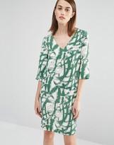 Selected V Neck Printed Shift Dress