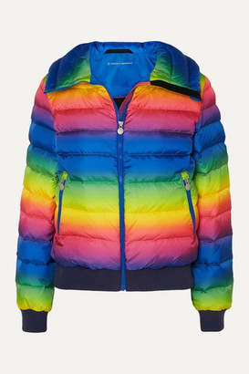 Perfect Moment Queenie Merino Wool-trimmed Striped Quilted Down Ski Jacket - Blue