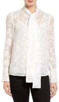 MICHAEL Michael Kors Tie Neck Floral Jacquard Blouse (Regular & Petite)