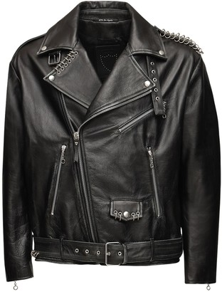 Htc Los Angeles Oversized Leather Jacket W/ Metal Rings