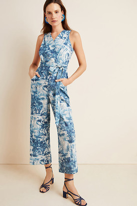 Eva Franco Landscape Linen Jumpsuit By in Blue Size 00