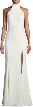 Jay Godfrey Cameo Halter Trumpet Gown w/ High Slit & Open Back