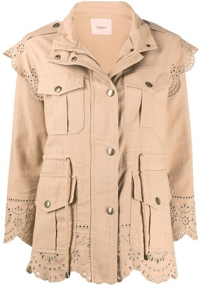 Twin-Set Crochet Trim Cargo Jacket