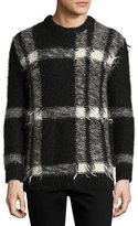 Burberry Large Check Intarsia Mohair-Blend Sweater, Black/White
