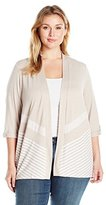 Alfred Dunner Women's Plus Size Striped Knit Cardigan Sweater