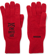 Moschino Embroidered Stretch-Knit Gloves