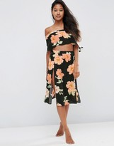 Asos Large Bloom Frill Beach Midi Skirt Co-ord