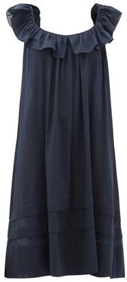 Loup Charmant Cirrus Ruffle-neck Organic-cotton Midi Dress - Navy