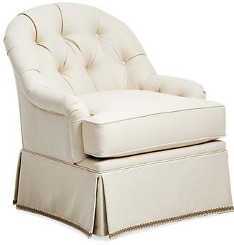 One Kings Lane Marlowe Swivel Club Chair - Cream Linen