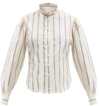Etoile Isabel Marant Jancis Ruffled High-neck Striped Cotton Shirt - Ivory