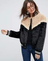 Free People Mixed Faux Fur Sporty Bomber Jacket