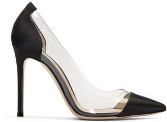 Gianvito Rossi Black Satin and PVC Plexi Heels