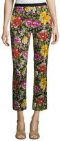 Etro Floral-Embroidered Slim Ankle Pant, Black