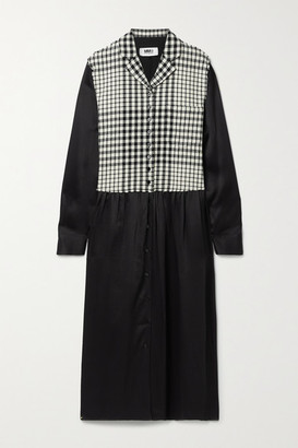 MM6 MAISON MARGIELA Paneled Checked Wool-blend And Satin Midi Dress - Black