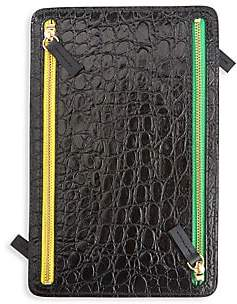 ROYCE New York Women's 4-Zip Croc-Embossed Leather Travel Organizer