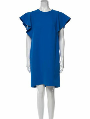 Victoria Beckham Crew Neck Knee-Length Dress Blue