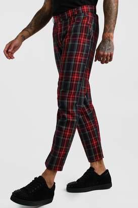 boohoo Smart Cropped Tartan Trouser