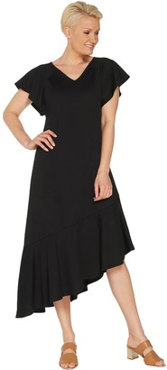 Isaac Mizrahi Live! Regular Pebble Knit Dress with Asymmetric Hem