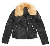 Blank NYC Girl's Blanknyc Faux Fur Collar Faux Leather Moto Jacket