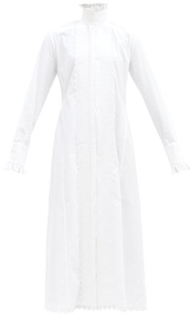 Paco Rabanne High-neck Cotton-poplin Midi Shirt Dress - White