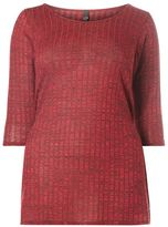 Evans Red Ribbed Top