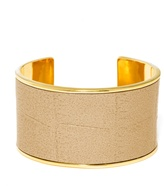BaubleBar Gilded Leather Cuff-Gold/Gold
